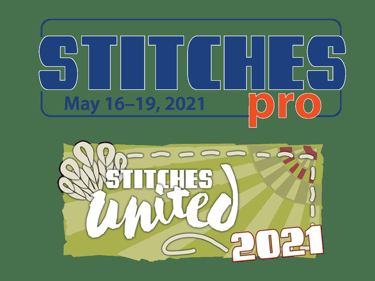 Stitches pro may 16-19, 2021 logo; Stitches United 2021 logo