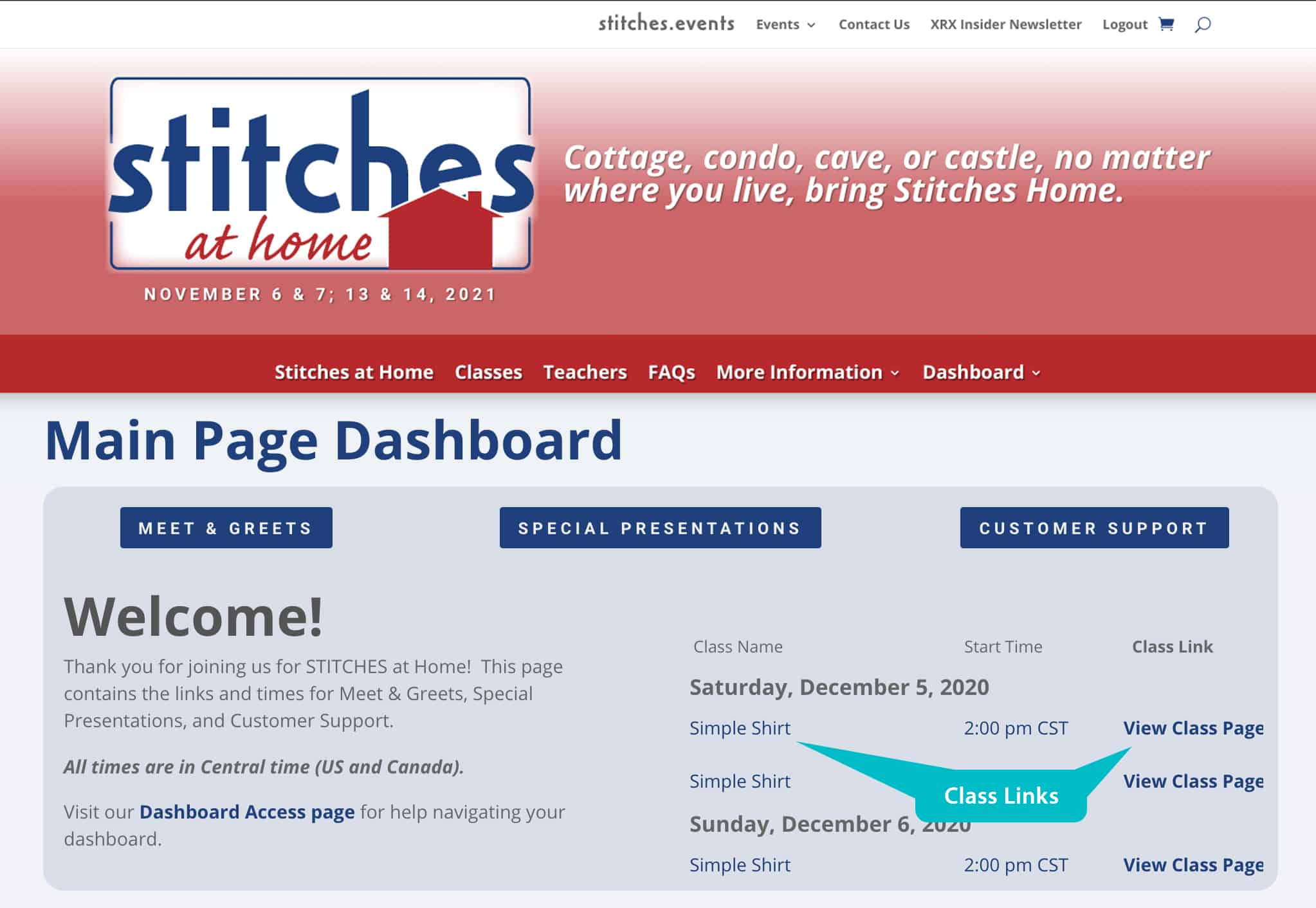 A screenshot showing the Student dashboard with class links.