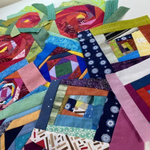 Scrappy Wonky Quilt Block Throw