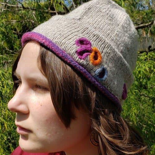 Holey Hat - 100% Cormo, natural gray