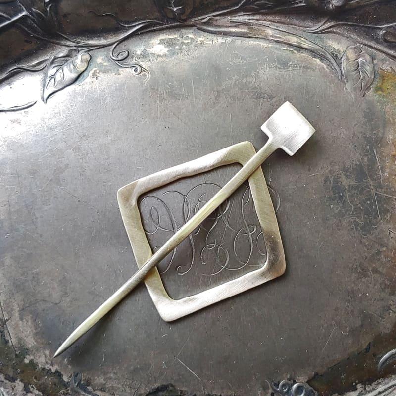 Midcentury Modern Square Shawl Pin